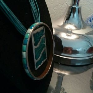 Silver with inlay of Druzy turquoise and bangle